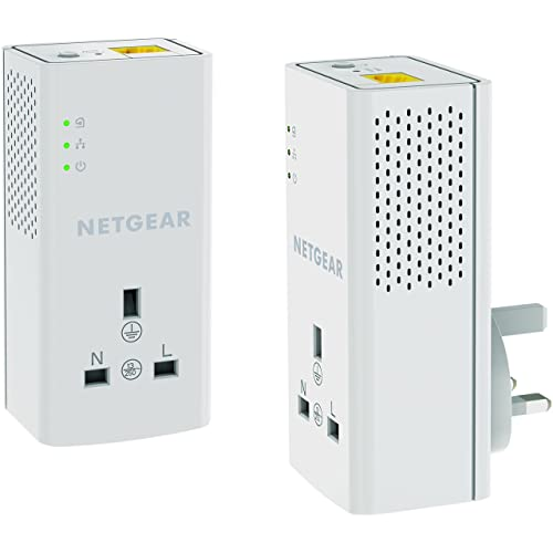 NETGEAR PLP1200-100UKS 1200 Mbps Powerline Ethernet Adapter Homeplug, Pass Through/Extra Outlet (1 Gigabit Ethernet Port) – Twin Pack
