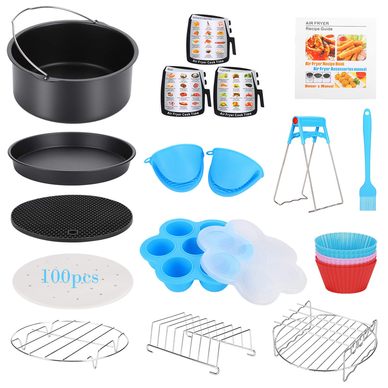 15 Pcs Air Fryer Accessories with Recipe Cookbook for Growise Phillips Cozyna Fits All 3.2QT - 5.8QT Air Fryer, 7in Deep Fryer Accessories