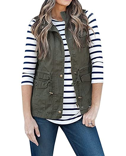 Women's Sleeveless Lightweight Pure Color Vest Jacket with Zipper & Button & Drawstring & Pockets (S, Army Green)