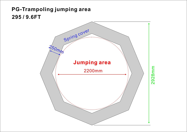 PB295//2050 Sicherheitsnetz SixBros SixJump 2,95 M Polygon Gartentrampolin Blau Trampolin