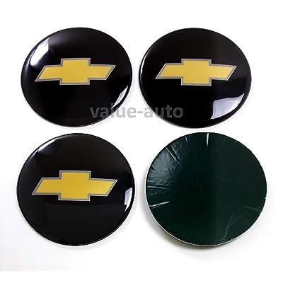 Armertek OCV88-B 4X Chevy Silverado Avalanche Suburban 1500 2500 Wheel Center Hub Caps Rim Alloy Dust Stickers Logo (Only Emblems) (Black): Automotive