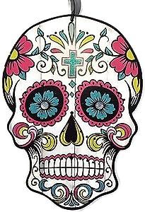 Mexican Day of The Dead Sugar Skull Wood Wall Sign, Dia de Los Muertos Halloween Decorations (Blue Cross, 1)