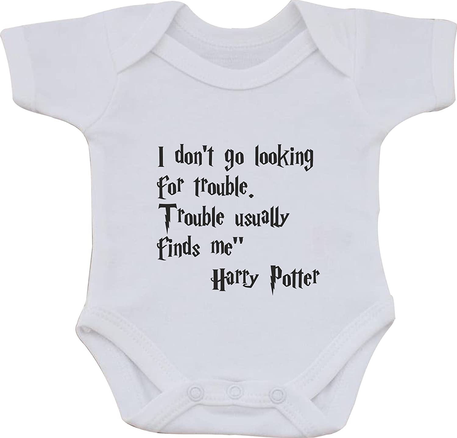 magic moments I Dont Go Looking for Trouble Trouble USALLY Finds Me Harry Potter Funny Humour Cotton White Baby Vest OR Bib