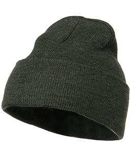 12 Inch Long Knitted Beanie - Dark Grey OSFM