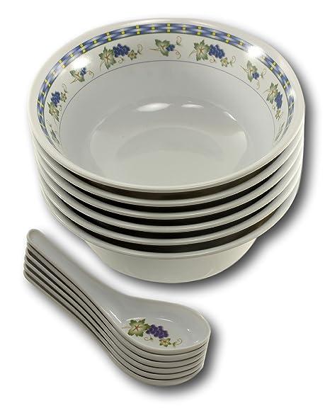Asian Soup Spoons Bowls - Melamine White Chinese Spoon Pho Rice Miso Bowl 6 Set (  sc 1 st  Amazon UK & Asian Soup Spoons Bowls - Melamine White Chinese Spoon Pho Rice Miso ...