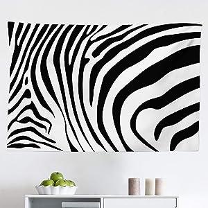 Lunarable Zebra Print Tapestry, Animal Skin Pattern Nature and Desert Life Theme Simplistic Illustration, Fabric Wall Hanging Decor for Bedroom Living Room Dorm, 45