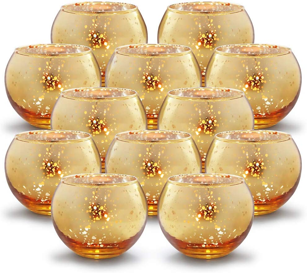 Volens Round Gold Votive Candle Holders Bulk Mercury Glass Tealight Candle Holder Set Of 12 For Wedding Decor And Home Decor Home Kitchen