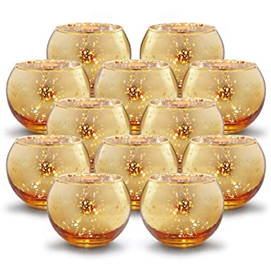 Volens Round Gold Votive Candle Holders Bulk, Mercury Glass Tealight Candle Holder Set of 12 for Wedding Decor and Home Decor