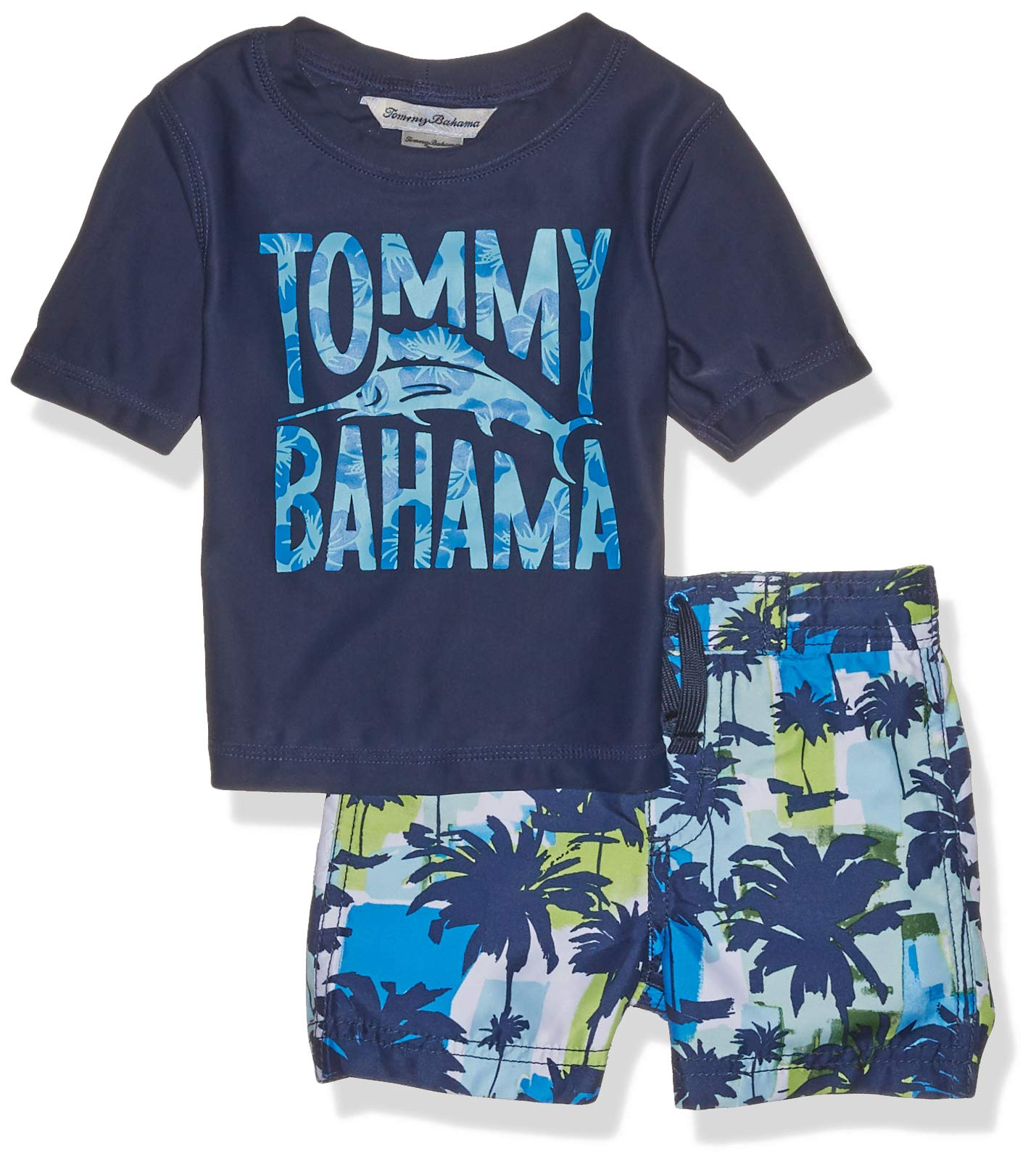 Tommy Bahama Baby Boys Rashguard and Trunks Swimsuit Set, Blue Lime Palm, 12 Months by Tommy Bahama