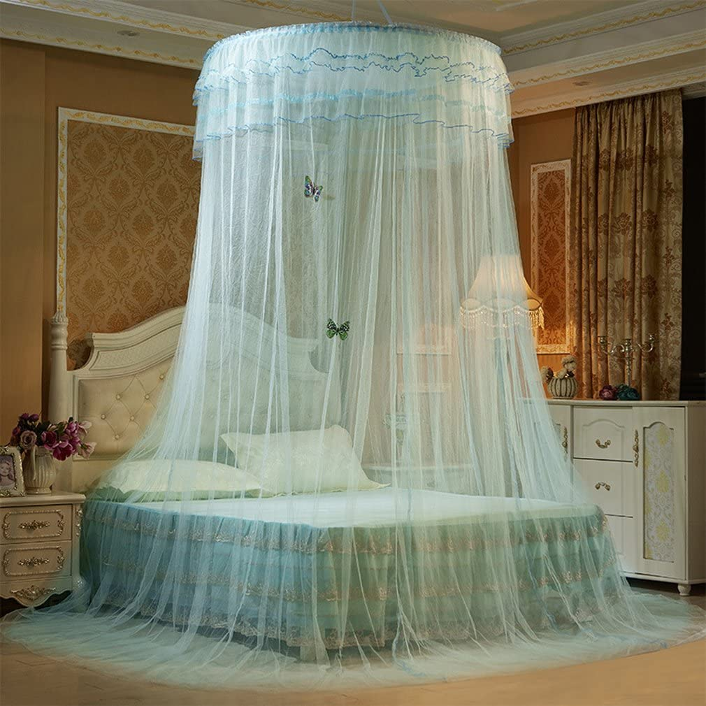 Height:2.7M Dome Mosquito Net for Double Bed Queen/&King Size Full Coverage Bed Canopy Curtain Mosquito Nettings Blue Pink