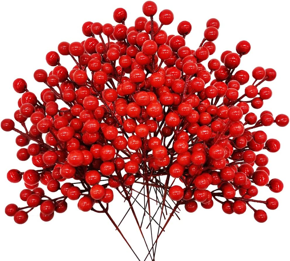 30 Pcs Artificial Holly Berries Christmas Winter Fake Berries,8.1 inch Artificial Red Berry Stems for Christmas/Winter Flowers Craft Holiday Home Decor