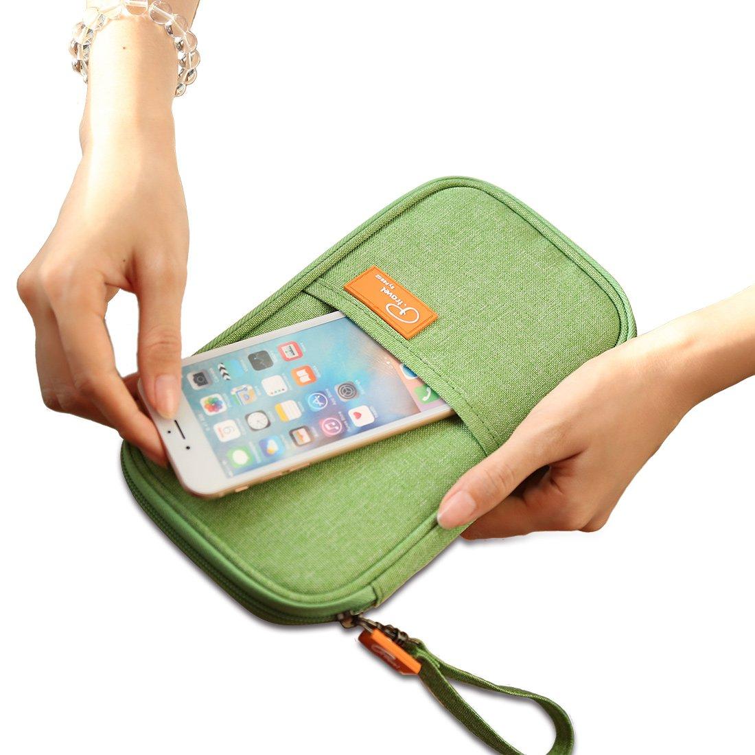 Family Passport Holder RFID Blocking Green Travel Wallet with Zip For Men & Women, SUSU Multiple Waterproof Card Case
