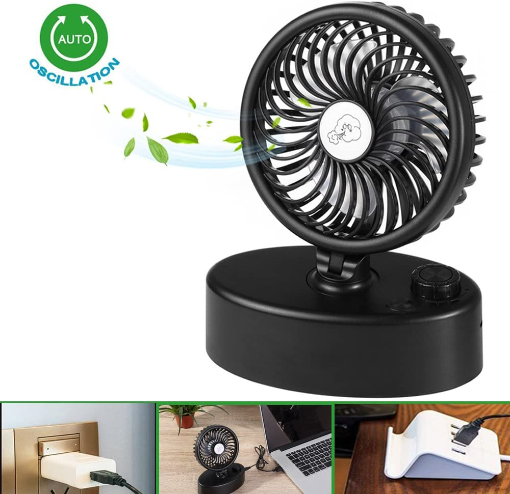 Desk USB Fan, Unique Mini Desk Oscillating Fan with Adjustable Switch, Super Quiet, 90 Degree Rotation 180 Levels Rotation, Perfect Small Personal Fan for Table Outdoor with Strong Wind-Black