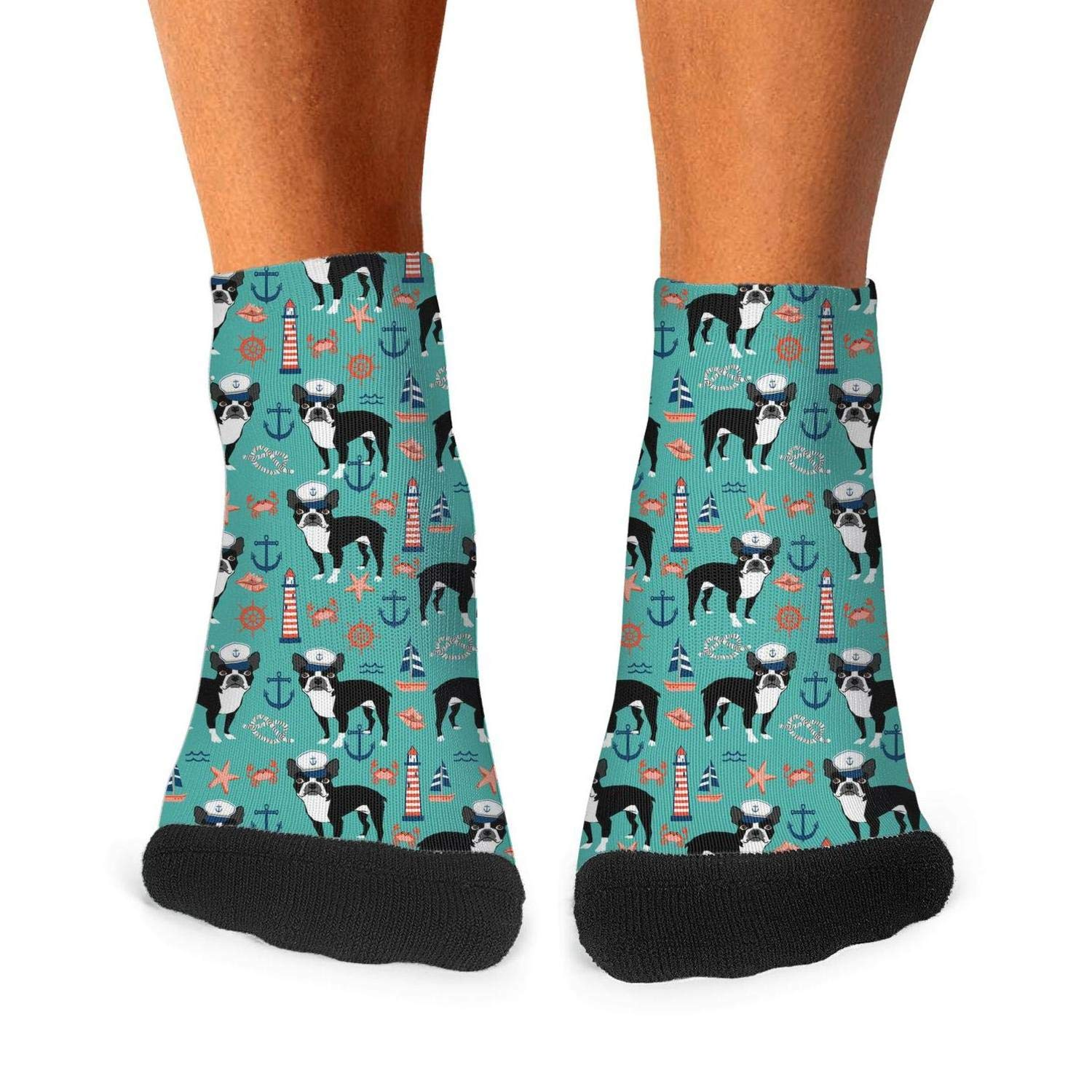 Mens athletic low cut Ankle sock Nautical Boston Terrier Dog light house1 Short Breathable Sock