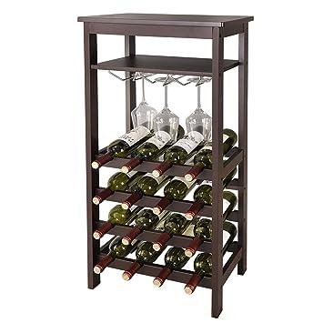 Amazoncom Zeny 16 Bottle Wine Rack Free Standing Floor Wine