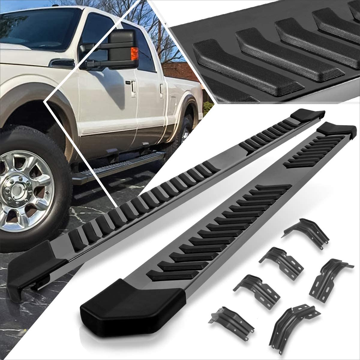 6 Inches Chrome Running Board Side Step Nerf Bar Compatible with Ford F250//F350 SD SuperCrew Cab 99-16