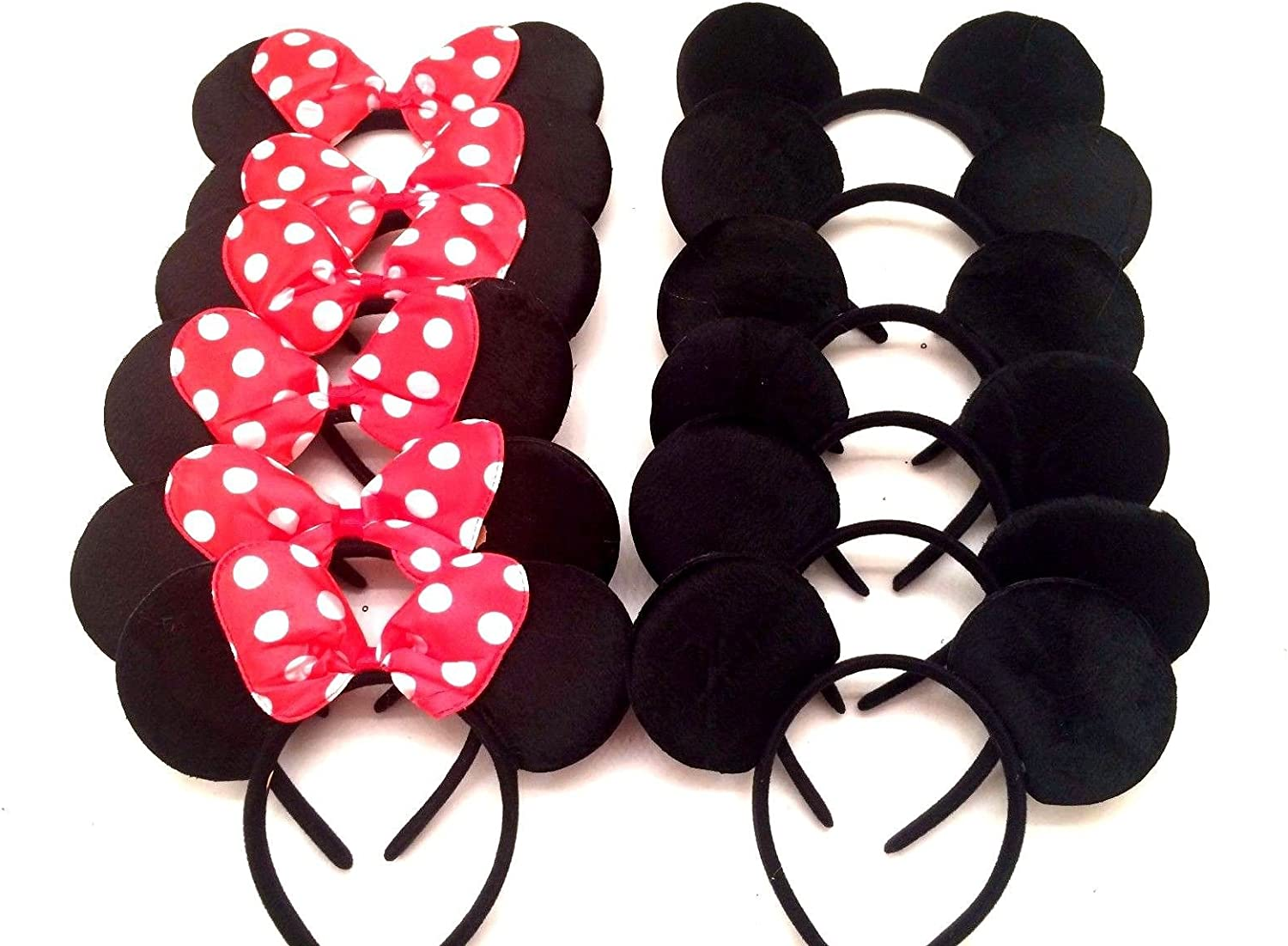 24 Minnie Mouse Ears Headbands Pink Polka Dot Bows Party Favors Birthday Mickey