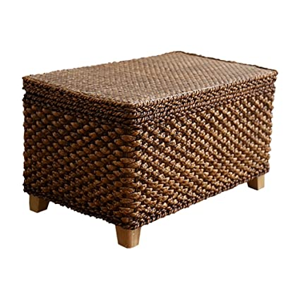 Storage Stool LXF Ottomans Rattan Straw Shoe Bench Footrest Sofa Stool Box  Can Sit People Load