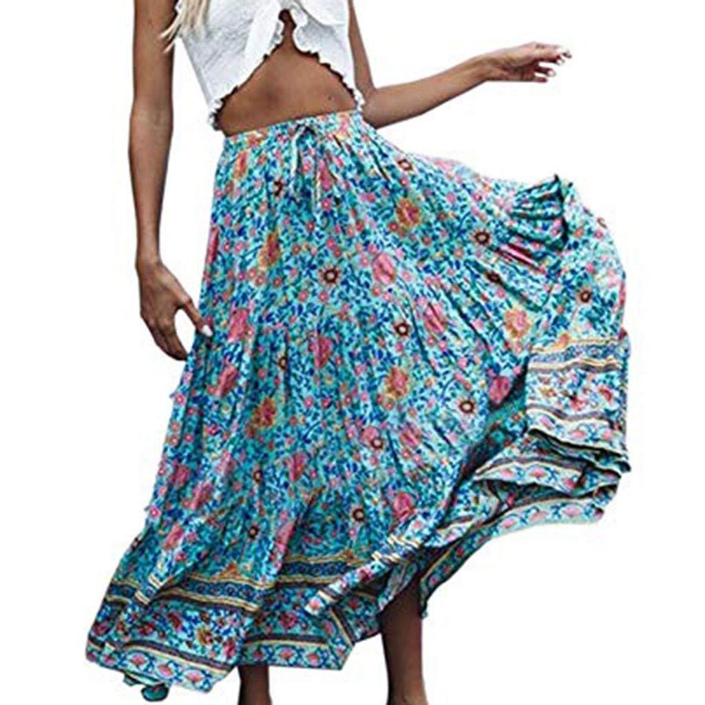 Euone Dress Clearance, Woman Bohemian Floral Printed Skirt Elastic Waist Ruffles Dress Pleated Long Beach Party Maxi Long Skirt