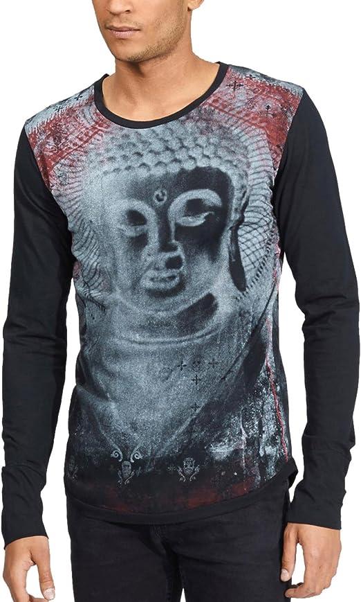 TALLA S. trueprodigy Casual Marca Camiseta Manga Larga para Hombre con impresión Estampada Ropa Retro Vintage Rock Vestir Moda Cuello Redondo Slim fit Designer Fashion Shirt
