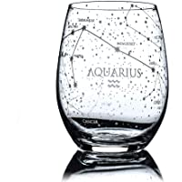 Greenline Goods Aquarius Stemless Wine Glass | Etched Zodiac Aquarius Gift | 15 oz (Single Glass) - Astrology Sign…
