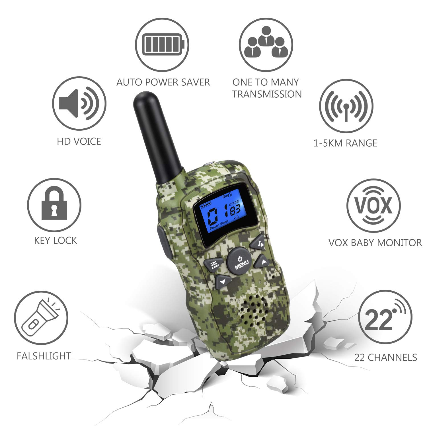 Wishouse 3 Walkie Talkies for Kids Rechargeable with Charger Battery,Family Two Way Radio Talkabout Walky Talky for Adults Long Range, Outdoor Fun Toy Birthday Gift for Girls Boys Teen Toddlers - Camo by Wishouse (Image #2)