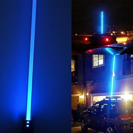 Led Antenne Licht New Night Stalker Peitsche Führte Strand Peitschen Flag Light 1 5 M Motorrad Atv Utv Sand Dune Flagge Led Bar Für Outdoor Offroad Snowmobile Motorrad Blau Auto