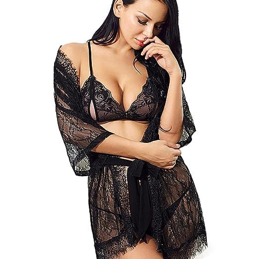 e97989305e HOSOCHRIS Women Lingerie Set Nightgown Sexy Seductive Lace Lacy Pierced  Hollow Open Underwear (Black)
