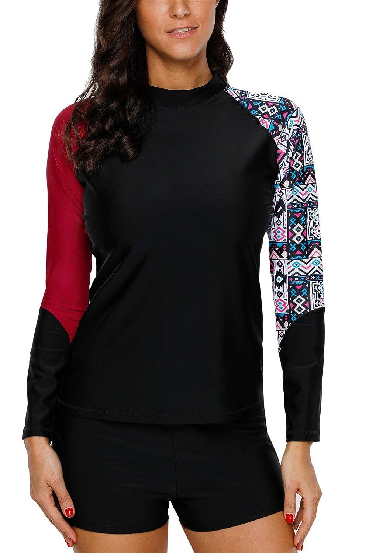 ALove Women Thumb Holes Long Sleeve Rash Guard Top Raglan Printed Swim Shirts