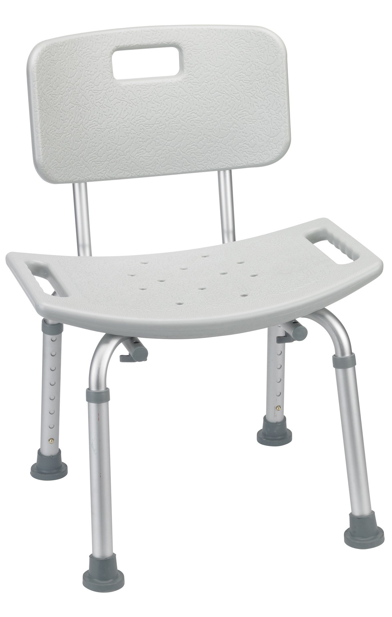 Secure BSCB-1 Adjustable Shower and Bath Chair with Seat Back - Medical Safety Bathroom Mobility Aid - Tool-Free Assembly