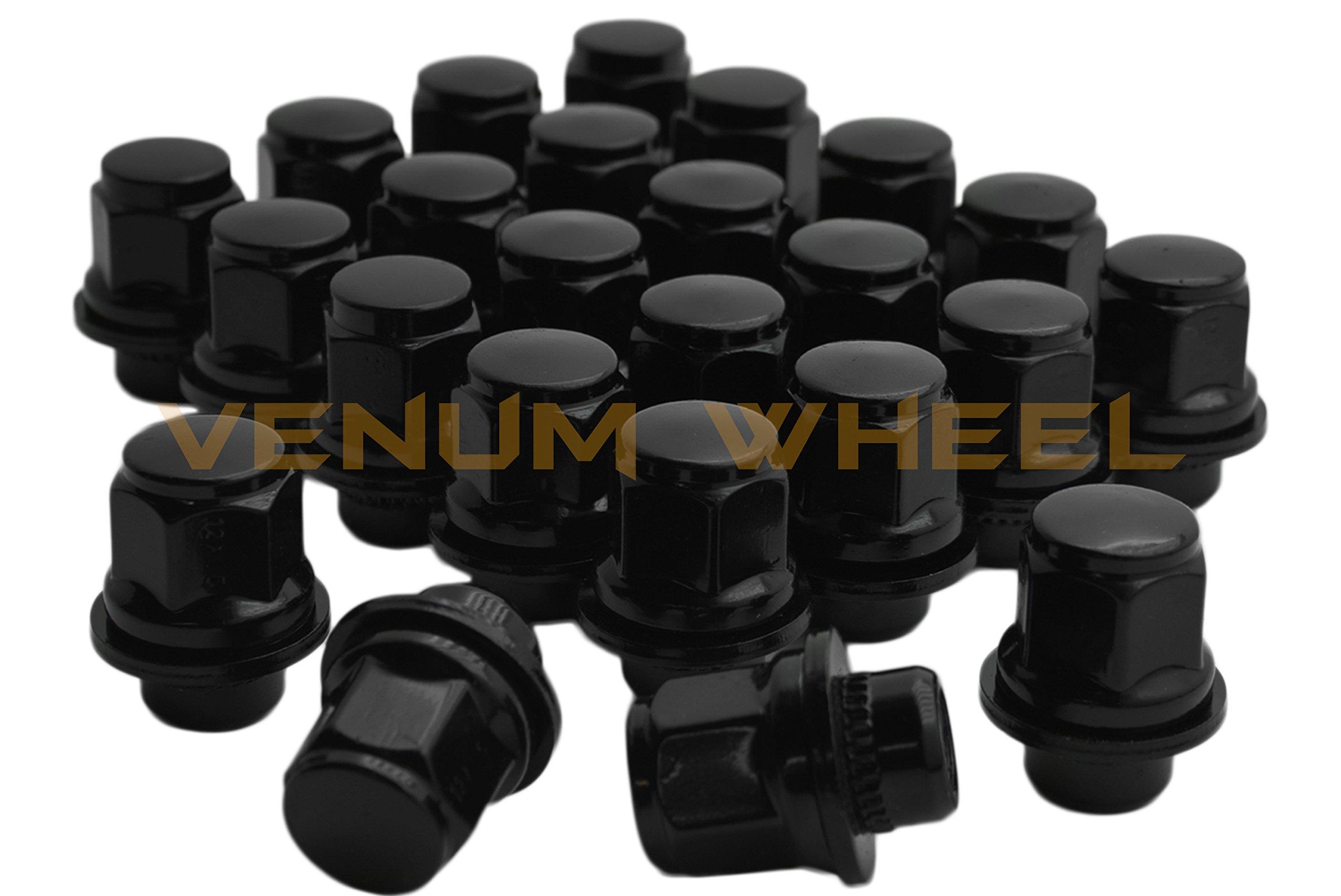 24 Pc Black Toyota Tacoma Tundra Fj Cruiser Oem Mag Seat Lug Nuts 12x1.5 1.45'' Tall 6 Lug by Venum wheel accessories (Image #1)