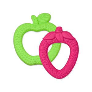 green sprouts 2 Pack Strawberry Apple Silicone Teethers, Pink, Green