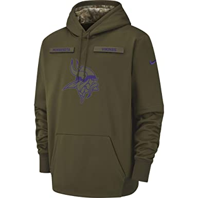 36475d995c0a Nike Men s Minnesota Vikings Therma Fit Pullover STS Hoodie Olive  Canvas Court Purple Size X