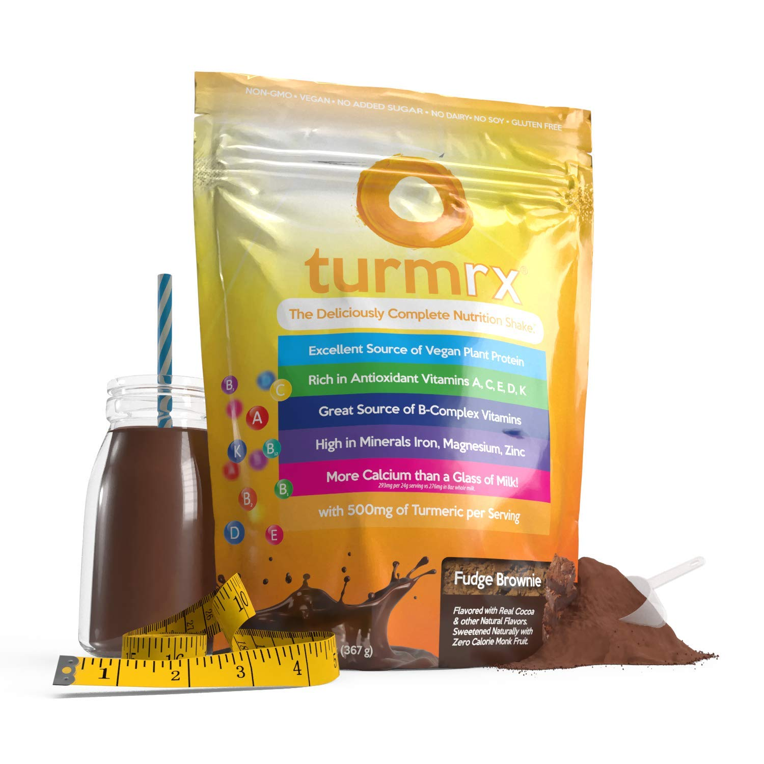 turmrx – Nutritious Vegan Weight Loss Shake Turmeric, Antioxidants, Vitamins Calcium Fudge Brownie