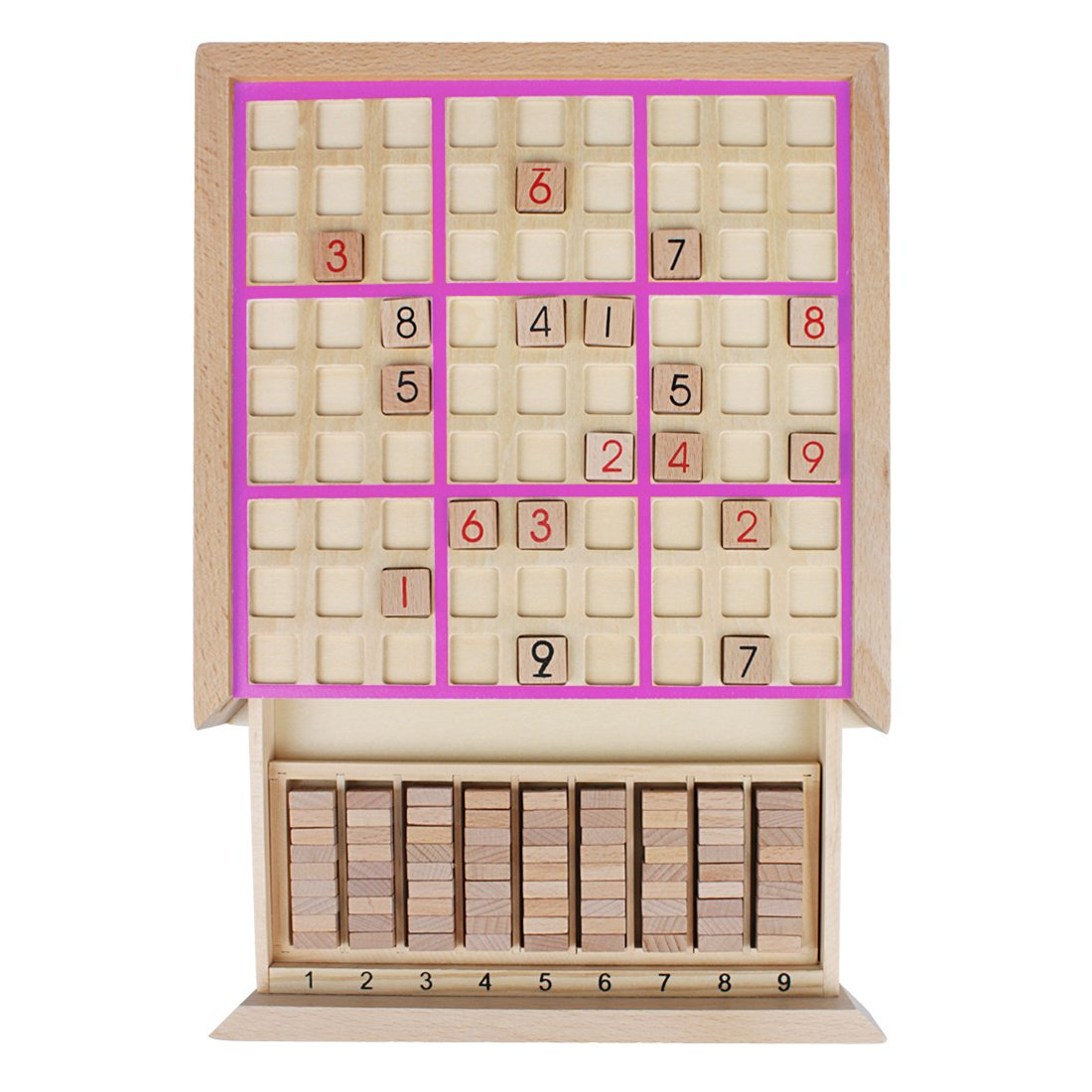 Andux Land Wooden Sudoku Puzzle Board Game with Drawer SD-02 (Pink) by Andux