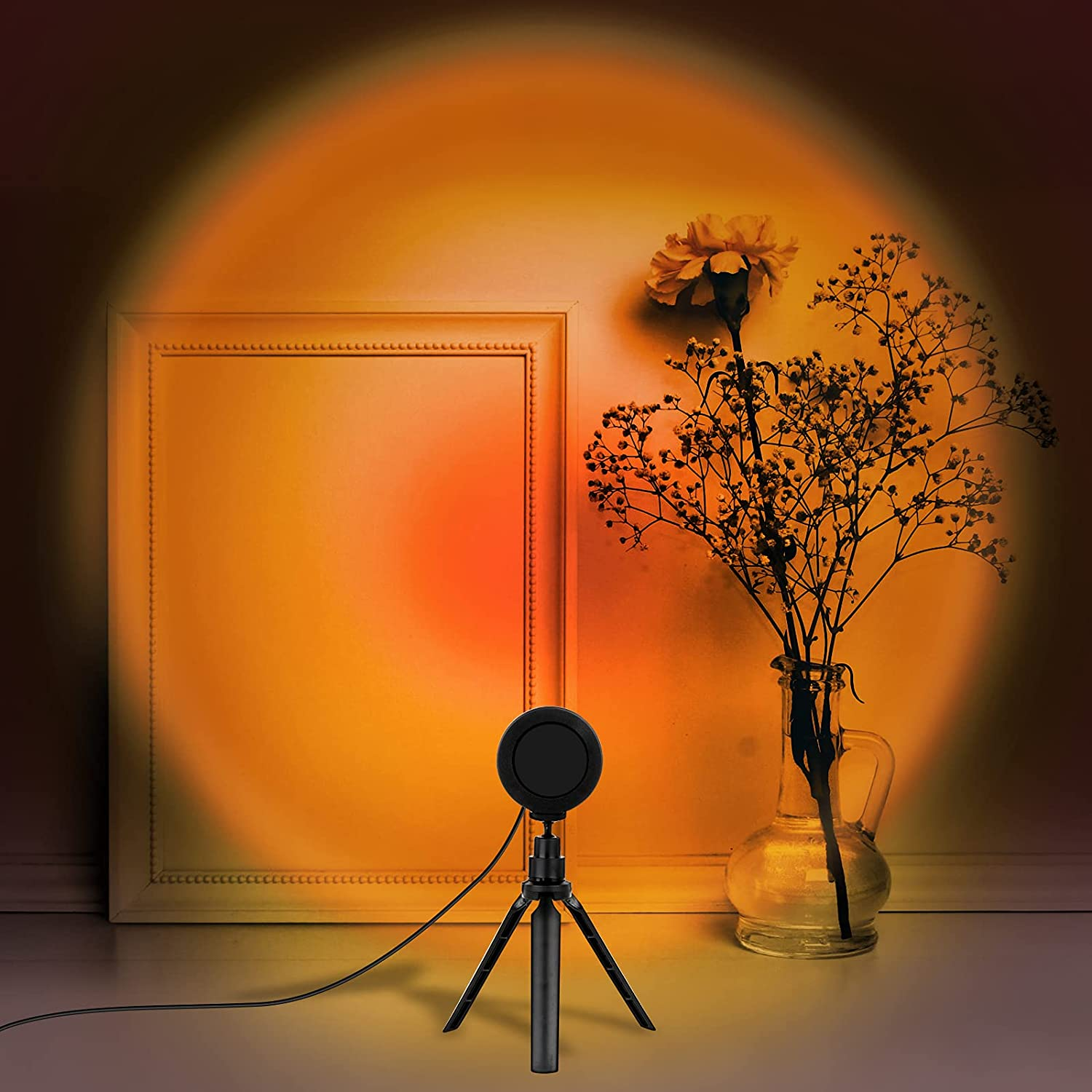 Sunset Lamp, LED Sunset Projector Light 360 Degree Rotation Sunset Projection Lamp USB Night Light Romantic Atmosphere Light for Photography, Vlog, Party, Bedroom, Home Living Room Decor