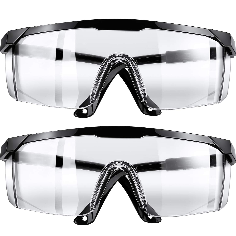 Gafas Protectoras Gafas Protectoras de Seguridad, Gafas Transparentes Anti-Vaho Anti-Arañazos Químicas Seguridad Contra Salpicaduras (2 Piezas)