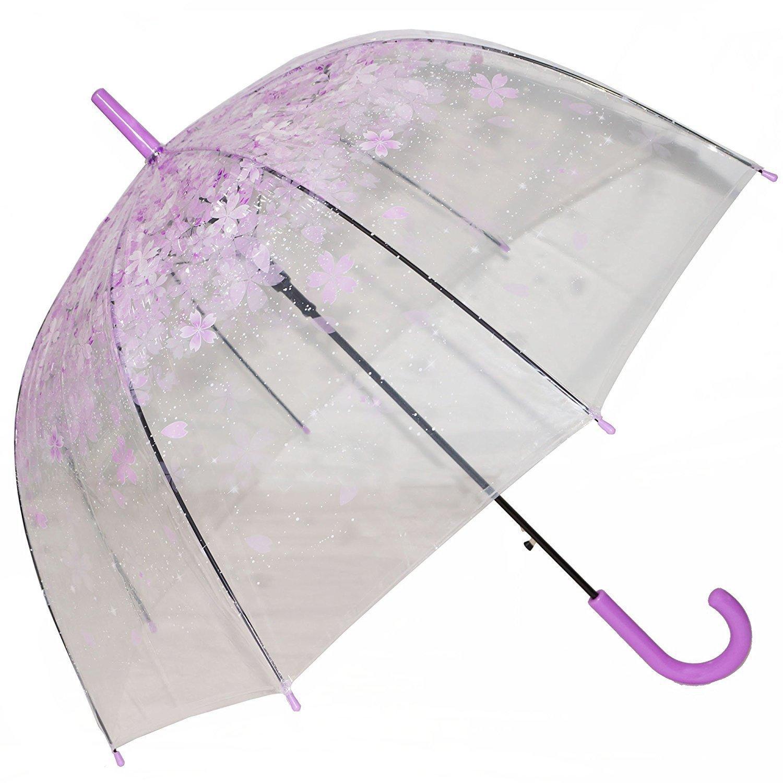 Kung Fu Smith Clear Umbrella, Bubble Dome Shape. Auto Open & Purple Flower Print Clear Umbrella Canopy