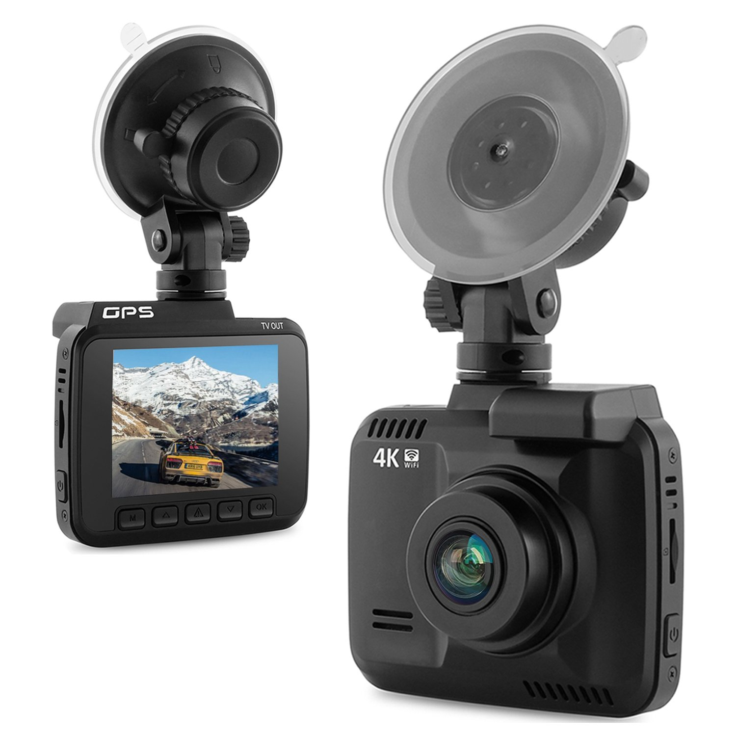 4K Ultra HD Car Dash Cam, 2.4'' Dash Camera, Built In WiFi and GPS, Support 150 Degree Wide Angle, G-Sensor, Loop Recording, Motion Detection, Parking Monitoring, etc