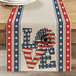 CROWNED BEAUTY Patriotic Table Runner 4th of July American Star Love 13 x 72 Inch Rustic Holiday Kitchen Dining Table Decor for Indoor Outdoor Dinner Party CT019-72