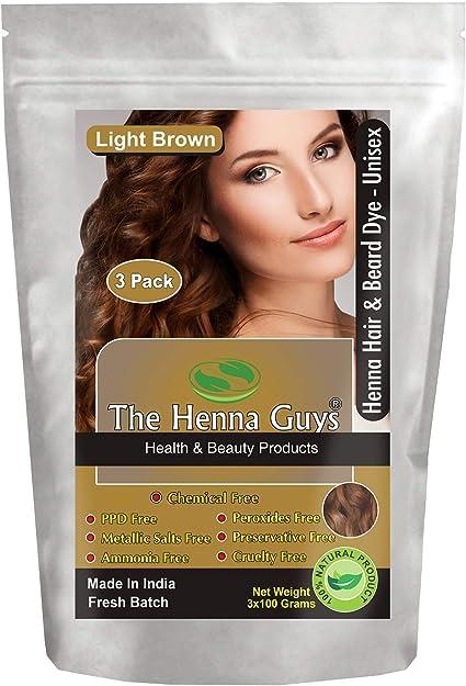 Tinte/tinte para cabello y barba con henna 100 gramos - Color de cabello sin químicos - The Henna Guys (3 Packs, Light Brown)