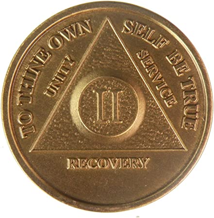 Alcoholics Anonymous AA 2 Month Bronze Keychain Medallion Token Coin Chip Sober