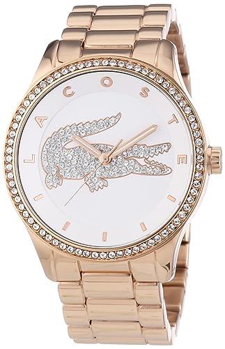 Lacoste 2000828 - Reloj analógico de cuarzo para mujer, correa de acero inoxidable chapado color oro rosa: Amazon.es: Relojes