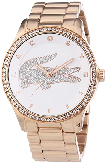 Lacoste 2000828 - Reloj analógico de cuarzo para mujer, correa de acero inoxidable chapado color