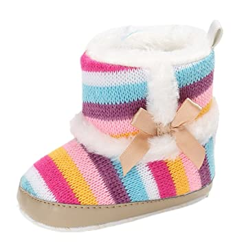 0db78d897a Amazon.com : for 0-18 Months Baby, Rainbow Fleece Boots Baby Girls ...