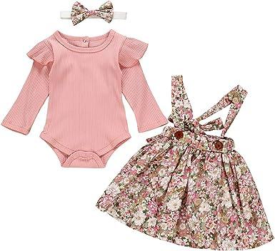 DaMohony 3Pcs Bebés Niñas Falda Floral Mono de Punto para Baby ...