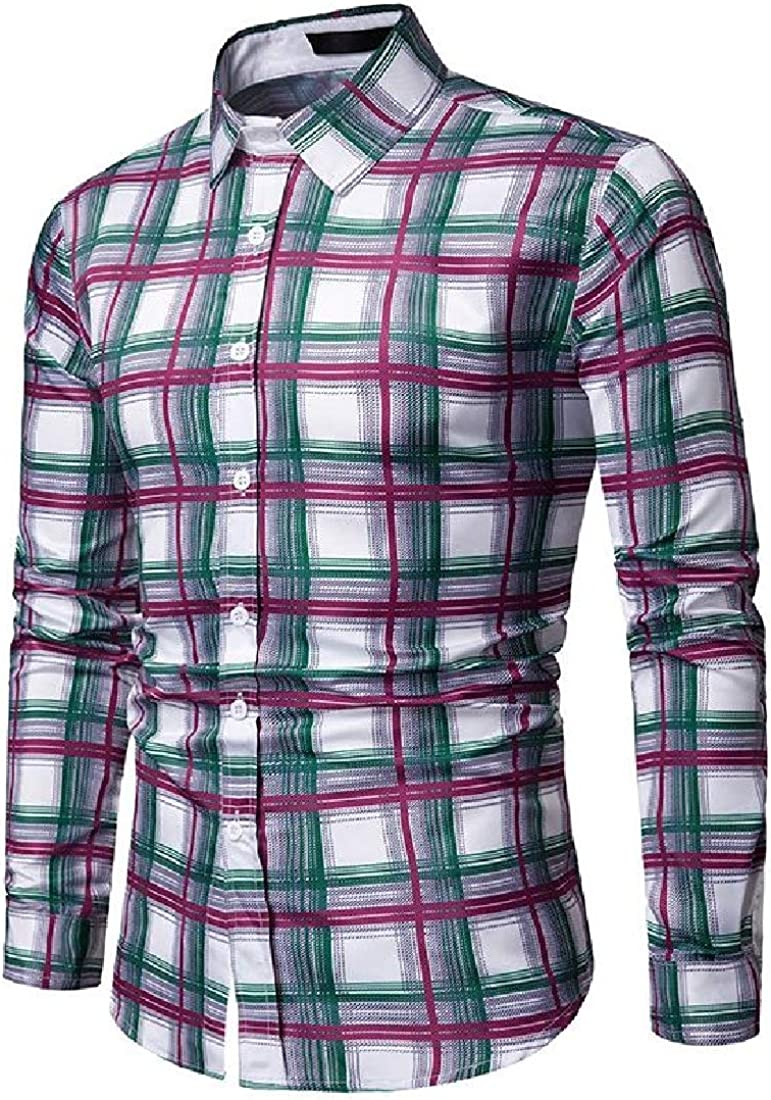 Sayah Mens Buttoned Bussiness Long Sleeve Spring//Autumn Plaid Pattern Shirt