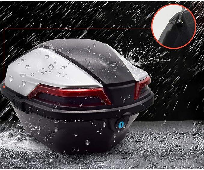Ymhbx Mode Motorradkoffer Helmkoffer Motorrad Kofferraum Koffer Universal Reflektierend Kann Unterbringen Handschuhe Kleidung Blau Schwarz Silber 30l Küche Haushalt