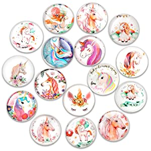 Cosylove (Update 16pcs Cute Cat Refrigerator Magnets, Crystal Glass Fridge Magnets for Office Cabinets, Whiteboards, Photos, Beautiful Decorative Magnets for, Decorate Home (Unicorn)