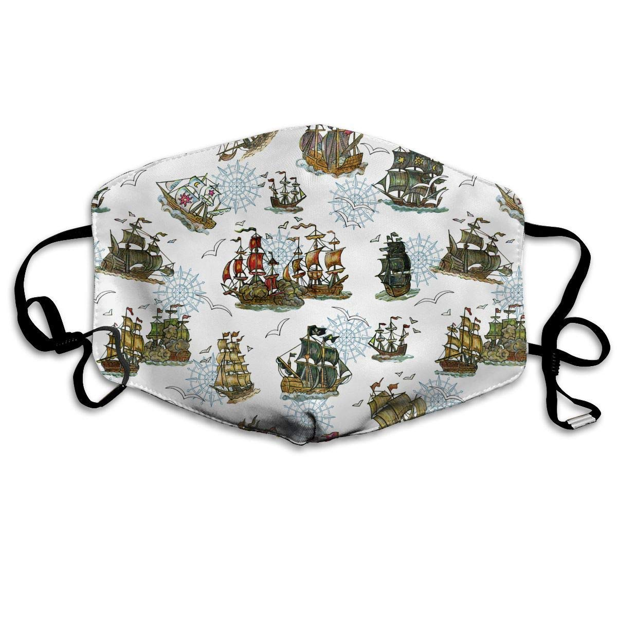 Masken, Masken für Erwachsene, Old Sailing Ships and Compass Reusable Anti Dust Face Mouth Cover Mask Protective Breath Healthy Safety